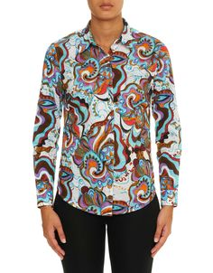 This shirt is a head turner features an all-over abstract-organic floral design. Team this with your dark denim for a bold statement. A space-dyed embroidery and ornamental tonal crystal details compliment the design and complete this look. Interior cuffs feature an ultra-modern checkered design.
