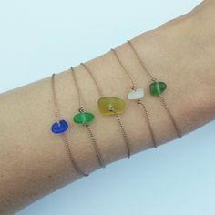 Sea glass bracelet. Minimal small genuine beach glass bead on fine silk cord. 1 bracelet. Choice of blue, white, green. Minimalist by SandpiperDesignsUK on Etsy