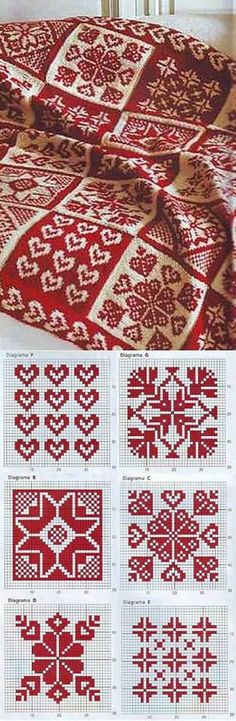 Knitting a warm blanket with heart motives