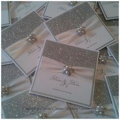 Items similar to Handmade Luxury Glitter Wedding Invitation The Glitzy Crystal pocketfold sample any ribbon colour on Etsy