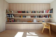 Holzrausch- I could leave an open space in the middle of the shelves for the tv, and the drawers could hold DVDs (the titles face up when you open the drawer), yoga mats, resistance bands, and blankets! Guest Room Office, Home Office Space, Home Office Design, Home Office Decor, Home Design, Interior Design, Br House, Study Room Design, Built In Desk