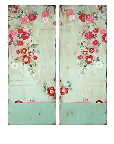 """Heartfelt I and II,"" diptych, 40 x 16"" each www.kathefraga.com Kathe Fraga paintings 2014 Inspired by vintage Paris and Chinoiserie ancienne"