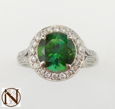 Amazing #Chrome #Tourmaline and #Diamond #Cluster Ring set in #Platinum with #SplitBands - #Perfect!