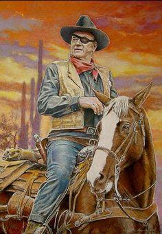 "John Wayne as a drunken U. Marshal Reuben J. ""Rooster"" Cogburn in True Grit Well, howdy pilgrim! Westerns, Chat Web, Films Western, Portrait Au Crayon, John Wayne Movies, West Art, Cowboy Art, Cowboy Western, Le Far West"