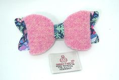 7fc70b97a570 Pink Harris Tweed hair bow clip with William Morris fabric felt Strawberry  Thief pattern centre piece & tails
