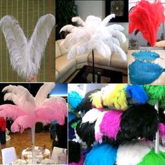 Multi Color Ostrich Feathers Wedding Party Decorations Table Decor 100PCS/Lot NW #nobranded