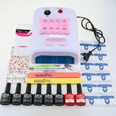 Nail art tools kit set 36W UV Lamp & 6 Color 10ml soak off Gel Polish nail base gel top coat gel polish kit nail Manicure tools