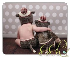 Definitely have to do this!!  Sock Monkey Hat and Diaper Cover by MadhatterknitsCo