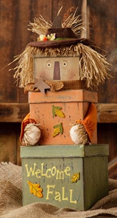 New Country Primitive Fall SCARECROW STACKING BOXES Nesting Box Set