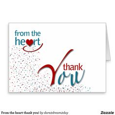 From the heart thank you! stationery note card