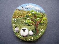 Unique Hand Made Needle Felted Brooch - 'May Blossom' by Tracey Dunn spring lambs under the trees