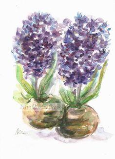 Purple Hyacinth Flower Wall Art ORIGINAL Small Watercolor