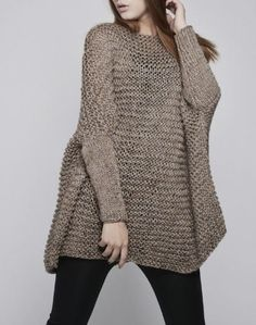 This beautiful over-sized sweater features simple style with fitted sleeves that makes you stylish and on trend. It is made of eco cotton yarn in Knitwear Fashion, Pulls, Hand Knitting, Knitting Patterns, Knit Crochet, Cashmere, Sweaters For Women, Womens Fashion, How To Wear