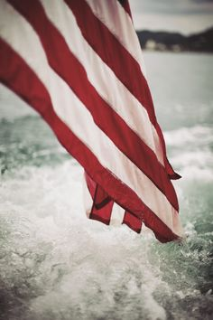 American flag on the open water