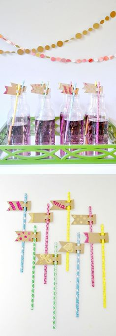 If you want to personalize a party with something fun and glittery - paper straw flags are perfect! Dress up your beverage station with this easy tutorial.