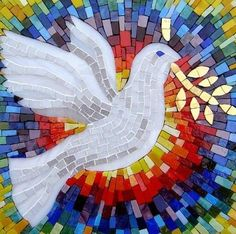 Dove of Peace, modern stained glass Mosaic Crafts, Mosaic Projects, Mosaic Art, Mosaic Ideas, Mosaic Designs, Mosaic Patterns, Altar, Stained Glass Church, Mosaic Birds