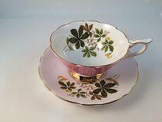 Royal Stafford Pink Tea Cup and Saucer Bone China England Vintage Gilt