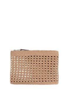 You can browse Tullaa branded Camel color Beige Hole Detailed Women's Wire Mesh Hand Portfolio p Crochet Clutch Bags, Crotchet Bags, Crochet Pouch, Knitted Bags, Cute Crochet, Creative Bag, Portfolio, Bag Accessories, Purses And Bags