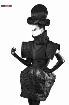Sculptural Fashion - dress with 3D silhouette & textured fabric detail using geometric folds // Ivana Pilja