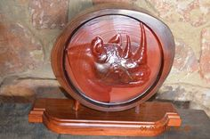 Rhino log on stand Teak, Carving, Accessories, Design, Decor, Decoration, Wood Carvings, Sculptures