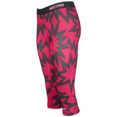 Nike Pro Printed Capri - Women's - Sport Fuchsia/Anthracite/Polarized Pink