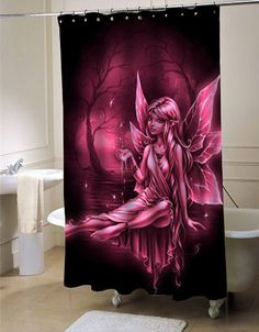 pink fairy shower curtain customized design for home decor shower