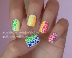 Image via We Heart It https://weheartit.com/entry/81176492/via/13802995 #blue #cute #green #nailart #nailpolish #nails #neon #orange #pink #polkadot #purple #summer #yellow #missjenfabulous #polishandpearls
