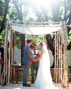 """The bride and groom exchanged vows under a huppah of birch branches and passionflower vines.The Eloquence String Quartet played the theme song from """"Out of Africa"""" and Adele's """"Can You Feel My Love"""" as the bridal party went down the aisle. When Joey entered, on the arms of her parents, they struck up """"Falling Slowly"""" from the movie """"Once."""""""