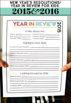 Printable New Year's Resolutions for Kids 2016 - a yearly tradition! Have your kids look back on 2015 and set goals for 2016.