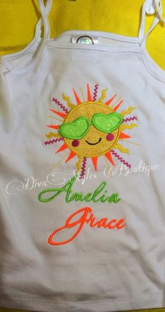Sunshine Sun with Glasses Shirt Embroidered by DivaStylesBowtique