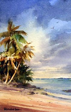 Rarotonga , Watercolor painting of Rarotonga, Cook Islands - Watercolor Paintings by Roland Lee Beach Watercolor, Watercolor Trees, Watercolor Artists, Watercolour Painting, Painting & Drawing, Watercolors, Painting Trees, Simple Watercolor, Watercolor Landscape Paintings