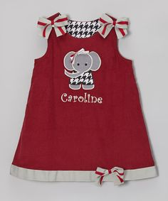 Take a look at this Crimson Elephant Personalized Jumper - Infant, Toddler & Girls by Wiggles and Giggles on #zulily today!
