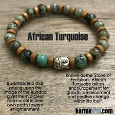 African Turquoise resonates especially well with the Third eye Chakra. It helps stimulate, strengthen and clear this center while allowing for growth.  A stone to help ease mood swings, encourage acceptance and soothe feelings of emotional aggravation.  It brings sparkle to the spirit, it brings a charge of energy, a gateway to new life, new existence.   Yoga Bracelets. Chakra Charm Stretch Bracelets. Buddha.