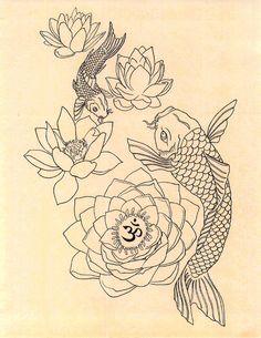 Japanese Fish Om Lotus Tattoo Drawing Art Print by GenieMelisande