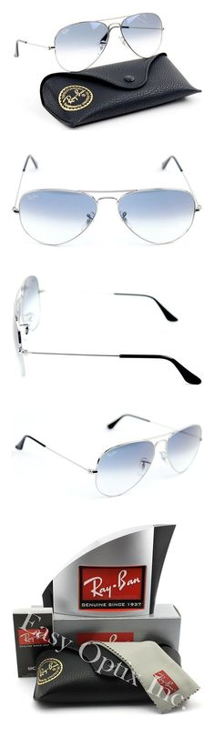 8e6596e29f669  165 - Ray-Ban RB3025 Aviator Gradient Unisex Sunglasses Silver Metal Frame    Light Blue