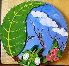 School Board Decoration, School Decorations, Paper Crafts For Kids, Diy And Crafts, Arts And Crafts, Art N Craft, Craft Work, Kindergarten Art Projects, Earth Day Crafts