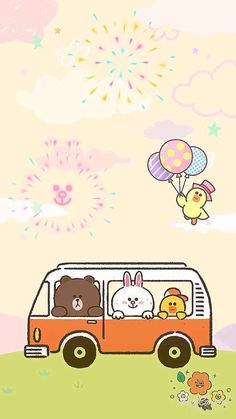 Lines Wallpaper, Bear Wallpaper, Kawaii Wallpaper, Iphone Wallpaper, Cute Couple Cartoon, Cute Cartoon, Line Cony, New Toy Story, Kakao Friends