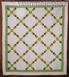 EARLY-Well-Quilted-Antique-Green-amp-Red-QUILT-82-034-x-74-034