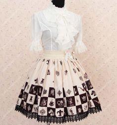 Lovely Girls Alice Chess Chocolate Lattice Printing Lolita Skirt
