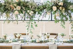 styling for hanging flowers, not colours - add hanging votives Photography: Lauren Gabrielle Photography - laurengabrielle.com Read More: http://www.stylemepretty.com/2015/01/15/ethereal-city-wedding-inspiration/