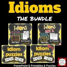 Idioms Bundle - Idiom puzzles - Idiom printables - Idiom PowerPoint This resource includes 40 idiom puzzles, 40 printables, 40 PowerPoint slides that will help your students learn and understand the meaning of idioms. . Fun! Fun! Fun!