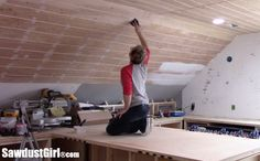 V Groove Plywood Plank Ceiling