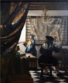 The Art of Painting - Johannes Vermeer.  c.1666.  Oil on canvas.  130 x 110 cm.  Kunsthistorisches Museum, Vienna, Austria.