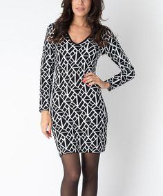 Look what I found on #zulily! Black & White Diamond Kim Sweater Dress #zulilyfinds