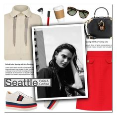 """""""How to Style a Red Mini Skirt with an Ivory Zip Up Top and Platform Sneakers for a Casual Chic Coffee Run in Seattle"""" by outfitsfortravel ❤ liked on Polyvore featuring Brunello Cucinelli, Dolce&Gabbana, CÉLINE, Gucci, Burberry and Smith & Cult"""