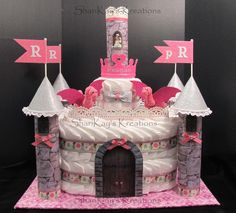 Custom Prince or Princess Castle Diaper Cake by ShariKays Kreations.