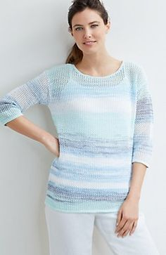 Pure Jill space-dyed mesh pullover