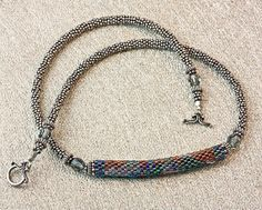 Bead Weaving Necklace  Peyote Beadwork by AllMyCreations on Etsy, $76.00