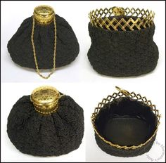 Vintage Imported From Abroad Antique Art Deco Crochet Jet Black Fringe Mirror Reticule Fringe Bead Purse