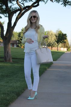 white in summer, ted baker heels, bohme yellow cardigan, maternity fashion, pregnancy style